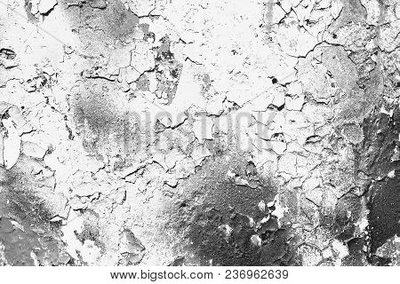 Texture Of The White Wall With Cracked Paint