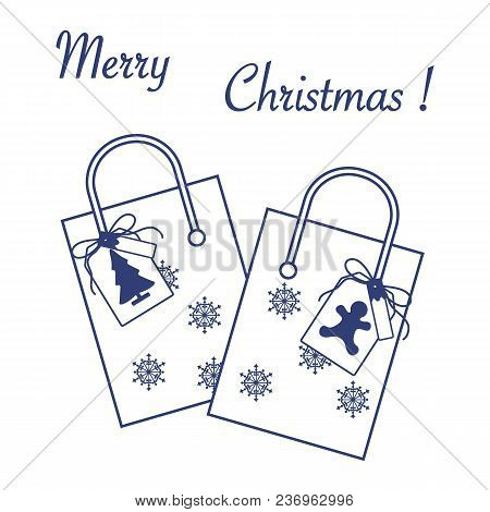 Cute Vector Illustration: Two Gift Bags With Snowflakes And Tags With Christmas Tree And Gingerbread