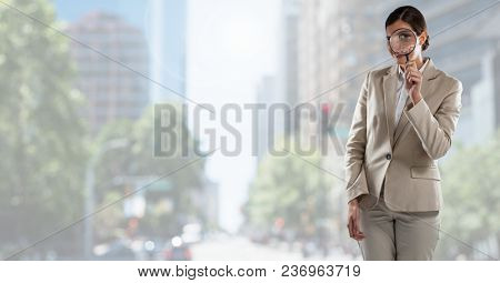 businesswoman on phone in cityscape