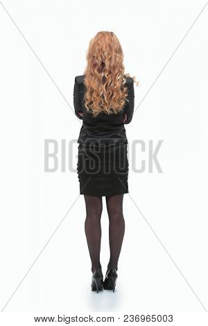 rear view.business woman looking on copy space