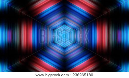 Kaleidoscopes Background With Animated Glowing Neon Colorful Lines And Geometric Shapes. Psychedelic