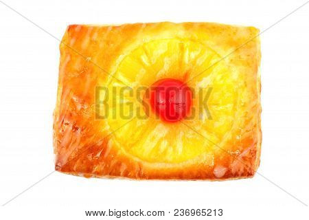 Pineapple Pie With Fresh Slice Pineapple And Red Cherry Isolated On Whitebackground