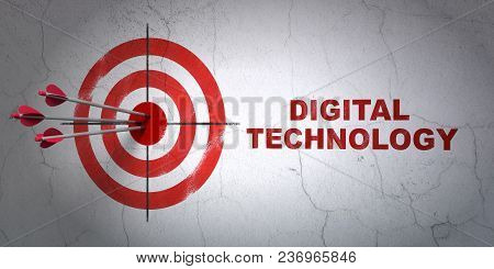 Success Information Concept: Arrows Hitting The Center Of Target, Red Digital Technology On Wall Bac