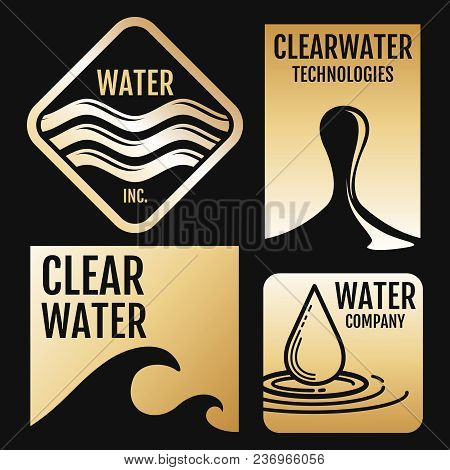 Water Vector Logos And Labels Set With Aqua Symbols On Black Background. Vector Illustration