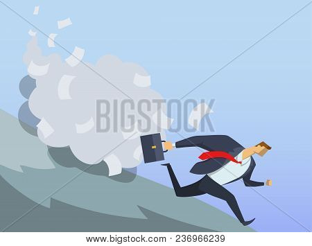 Businessman in office suit running fast down the hill. Anticrisis management. Urgent measures. Clerical avalanche. Race for success. Hurry up. Concept flat vector illustration. Horizontal. poster