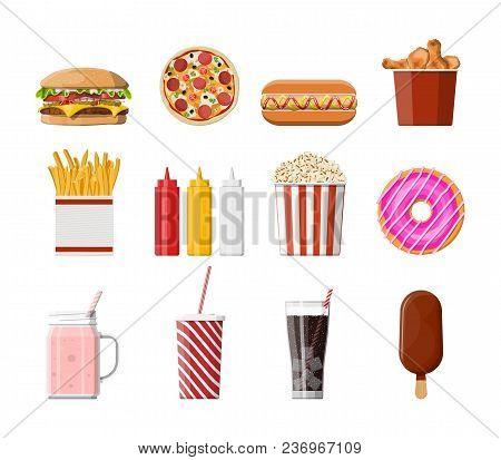 Fast Food Icons Set. Burger, Pizza, Hotdog, Fried Chicken, Fries, Popcorn, Donut, Milk Cocktail Cola