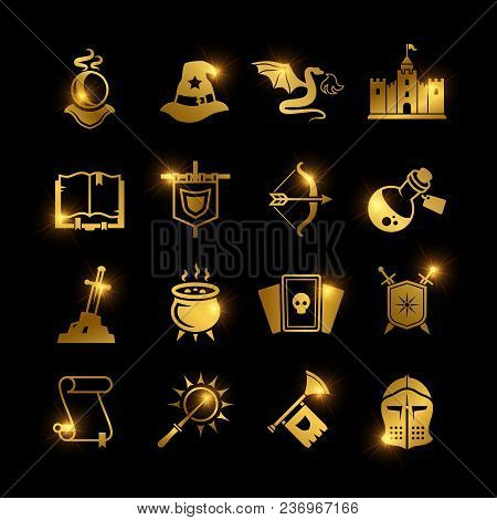 Golden Fantasy Medieval Tale Vector Icons. Mystery Magic And Knight Pictogram. Vector Illustration