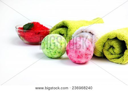 Spa. Sea Salt, Bath Bomb And Towel. Natural Beauty Care And Aromatherapy. Relaxation And Body Therap