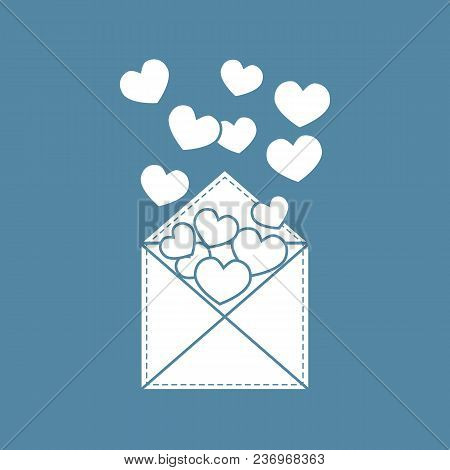 Postal Envelope With Hearts