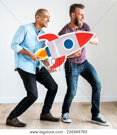 Friends holding a rocket icon