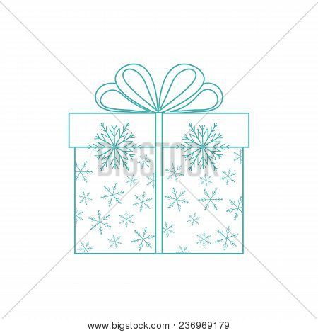 Vector Illustration Of Gift Box Decorated Snowflakes On White Background Made In Line Style.design E