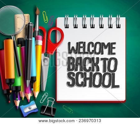 Back To School Vector Background Design With School Supplies, Education Items And White Space For We
