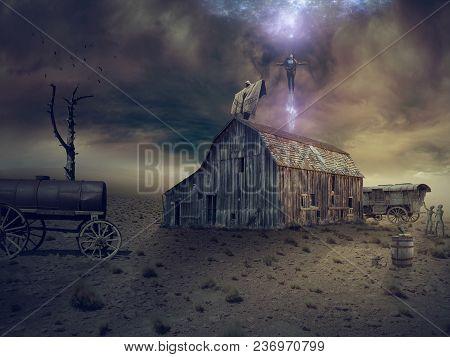 An Old Barn, An Old Metal Barrel On Wheels, A Severe Sky, A Mystical Ritual.