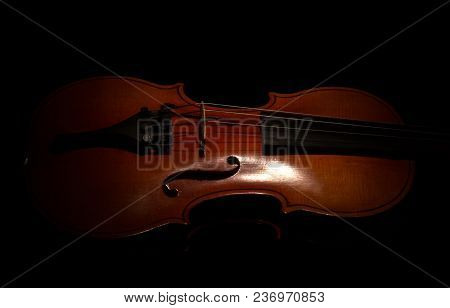 Music String Instrument Violin Isolated On Black Background