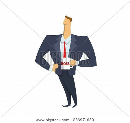 Confident Businessman In Office Suit Holding A Boss Mug. Leader. Boss. Success. Achieving Goals. Con