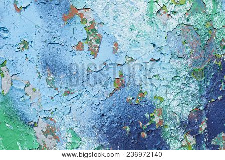 Texture Of The Blue Wall With Cracked Paint