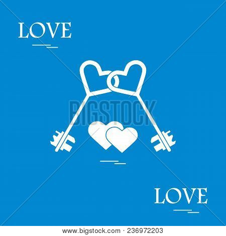 Cute Vector Illustration Of Love Symbols: Heart Key Icon And Two Hearts. Romantic Collection. Design
