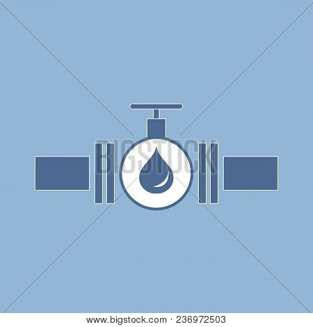 Stylized Icon Of The Pipe With A Valve And Fuel Drops On A Color Background