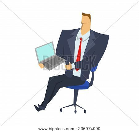 Businessman In Office Suit On The Chair Holding Notebook. Presentation And Demonstration. Business I