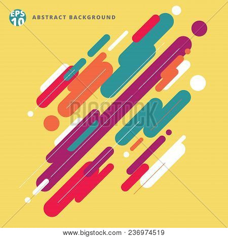 Abstract Modern Style Composition Made Of Various Rounded Lines Pattern Colorful On Yellow Backgroun