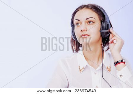 Office Work. Portrait Of Happy Smiling Cheerful Support Phone Operator In Headset On White Backgroun
