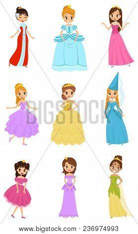 Cute Little Princess Girls Set, Beautiful Little Girls In Princess Dresses Vector Illustrations Isol