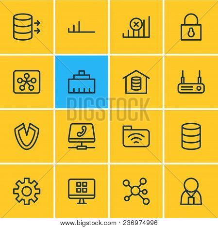 Vector Illustration Of 16 Internet Icons Line Style. Editable Set Of Hosting, Security, No Connectio