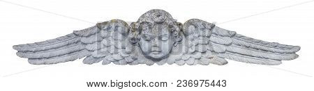 Close Up Of Angel With Wings. Vintage Ancient Stone Statue, Fragment.