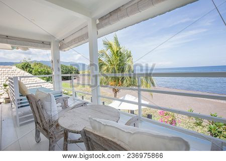 Sea Ocean View With Blue Sky From High Floor Of Luxury Hotel Room Terrace