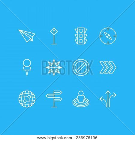 Illustration Of 12 Location Icons Line Style. Editable Set Of Check-in, No Entry, Orientation And Ot