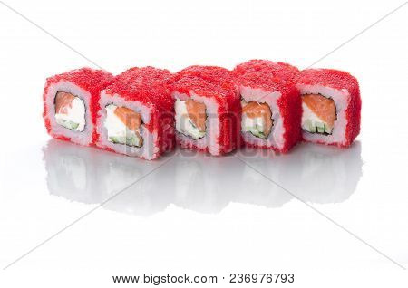 On White Background Isolated With Reflection, Sushi Rolls Red With Caviar With Eel And Salmon With J