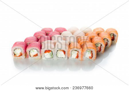 On White Background Isolated With Reflection, Sushi Rolls Japanese Cuisine Beautiful Lot Set Differe