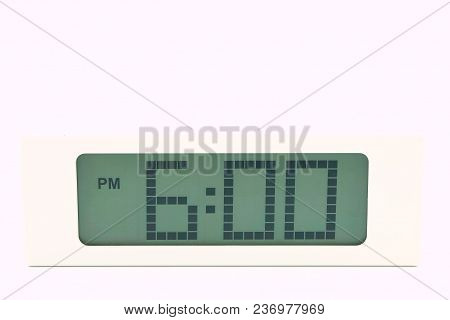 Digital Clock Showing Time 6.00 Minutes Isolated Over White Background.