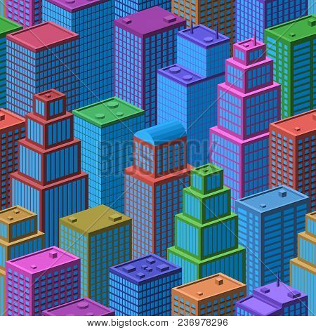 3d Isometric Three-dimensional View Of Megapolis City. Seamless Urban Landscape, Tile Background Wit