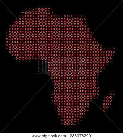 Dot Red Halftone Africa Map. Vector Geographic Map In Red Color Tinges On A Black Background. Vector