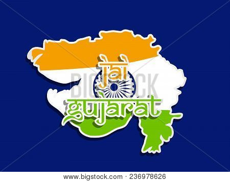 illustration of Map of an Indian State Gujarat in an India flag background with Jai Gujarat text in Hindi language on the occasion of an Indian State Gujarat Day poster
