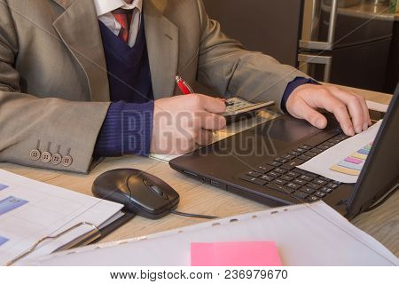 Business Man Doing Finances On Calculate Analysis Working With Financial Results Financial Accountin