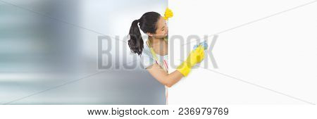 Cleaner with white board and bright background