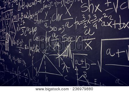 math formula on slate blackboard