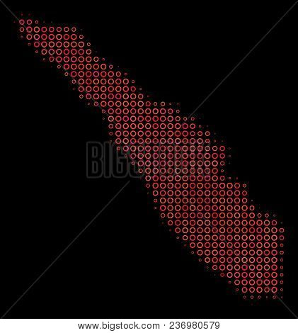 Dotted Red Halftone Sumatra Island Map. Vector Geographical Map In Red Color Tones On A Black Backgr