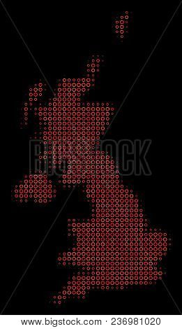 Dot Red Halftone United Kingdom Map. Vector Territorial Map In Red Color Shades On A Black Backgroun