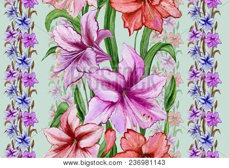 Beautiful Amaryllis Flowers With Leaves In Straight Lines On Green Background. Seamless Floral Patte