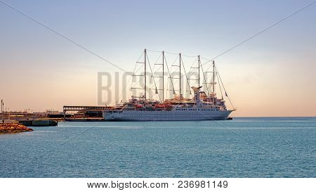 Malaga, Spain - April 17, 2018. Wind Surf Cruise Ship The Largest Sailing Cruise Ships In The World,