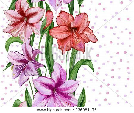 Beautiful Amaryllis Flowers With Green Leaves On White Dotted Background. Seamless Floral Pattern. W