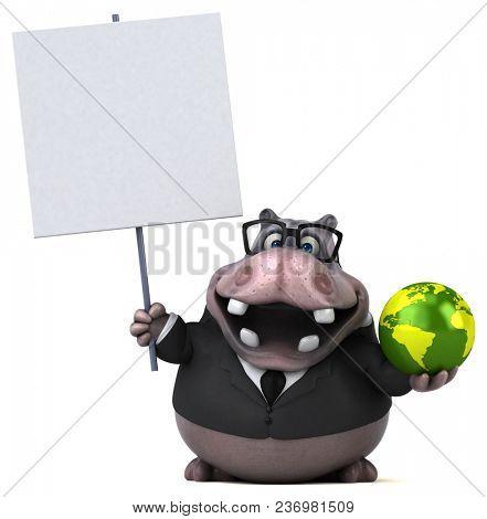 Fun hippo - 3D Illustration