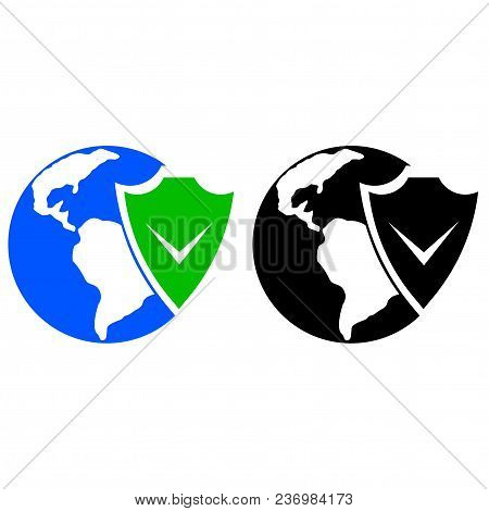 Earth And Shield Icon. Vector Icon. Flat Style