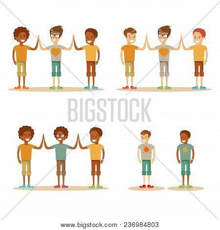 Kids High Five. Stock Flat Vector Illustration.
