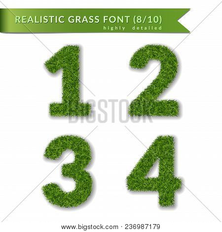 Grass Numbers 1 2 3 4. Green Numbers One, Two, Three, Four Isolated On White Background. Green Grass