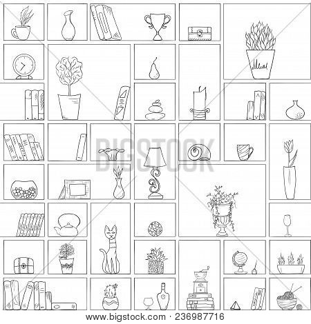 Hand Drawn Book Shelves Seamless Pattern Background Black White Outline, Objects Collection