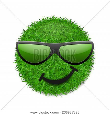 Green Grass Field 3d. Face Wink Smile With Sunglasses. Smiley Grassy Emoticon Icon Isolated White Ba